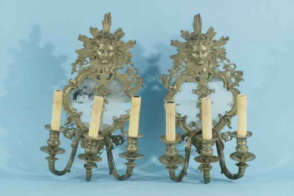 14: PAIR ANTIQUE FRENCH GILT BRONZE WALL SCONCES