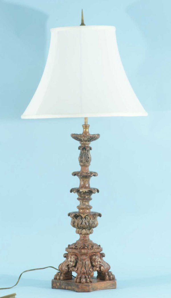 15: ITALIAN CANDLESTICK GILDED LAMP, CIRCA 1700's