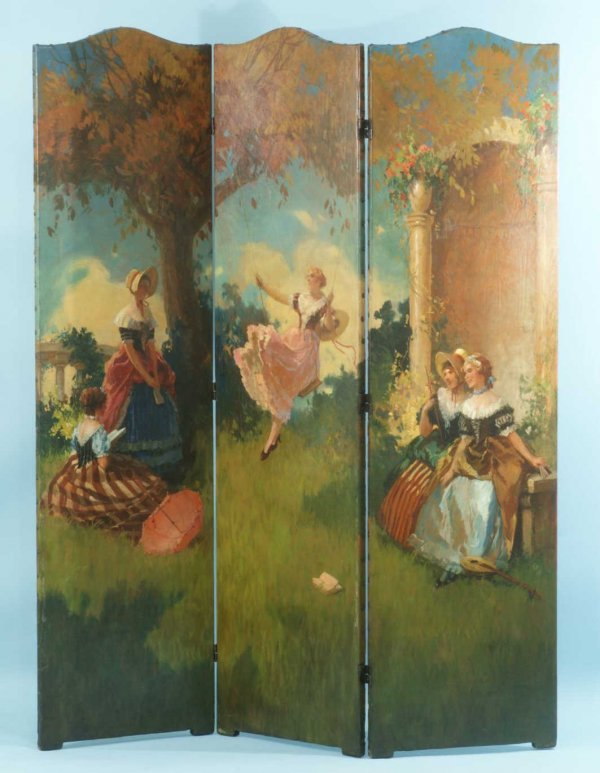 18: THREE-PANEL EARLY 20th CENTURY HAND PAINTED SCREEN