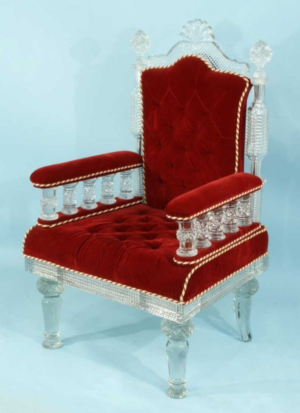 34A: OSLER STYLE MOLDED AND CUT GLASS THRONE CHAIR
