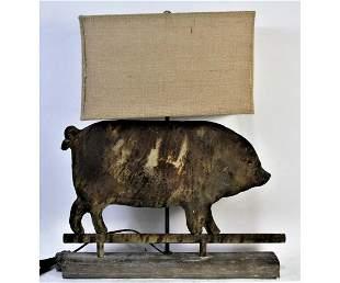 ANTIQUED METAL PIG FARM RELIC LAMP