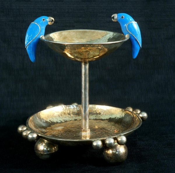 1: MEXICAN SILVERPLATED COMPOTE WITH TURQUOISE BIRDS
