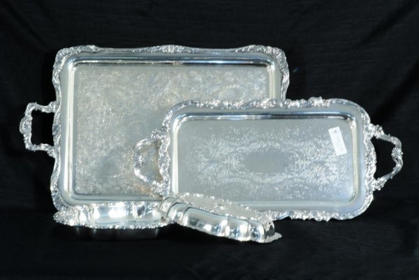 6: TWO SILVERPLATED TRAYS & COVERED VEGETABLE DISH