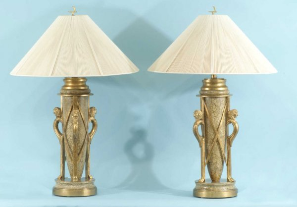 7: PAIR OF GILDED LAMPS IN THE NEOCLASSICAL TASTE