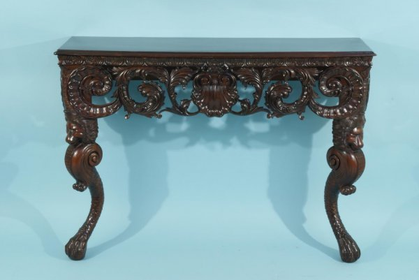 12: CARVED MAHOGANY CONSOLE IN THE GEORGIAN TASTE