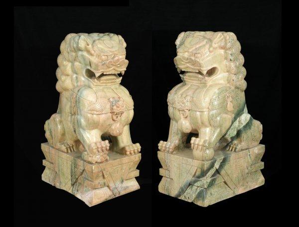 16: PAIR OF LARGE CARVED JADE FOO LIONS