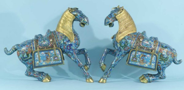 19: PAIR OF ANTIQUE CHINESE CLOISONNE HORSES