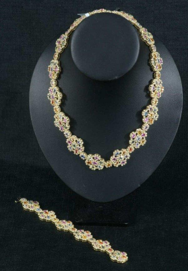 80C: 14KT YELLOW GOLD LADIES SAPPHIRE & DIAMOND SUITE