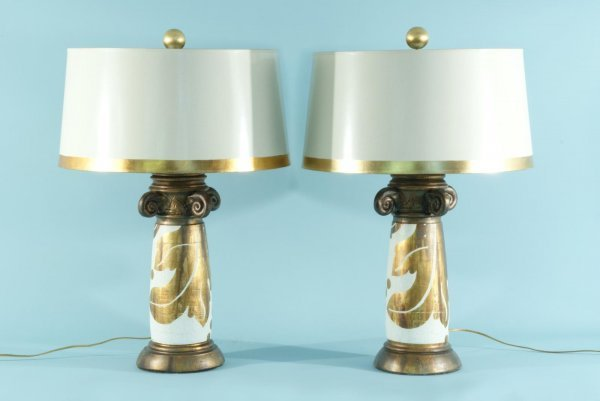 88: BURT CASON WOOD CARVED AND CERAMIC GILDED LAMPS