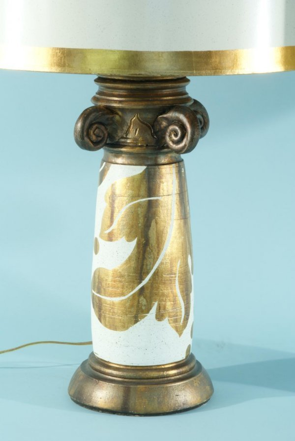 88: BURT CASON WOOD CARVED AND CERAMIC GILDED LAMPS - 2