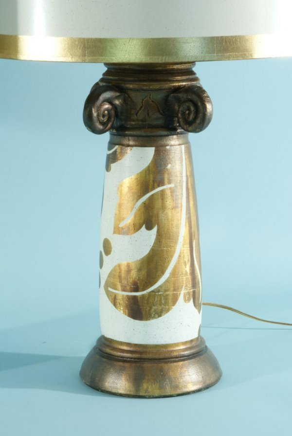 88: BURT CASON WOOD CARVED AND CERAMIC GILDED LAMPS - 3