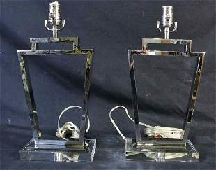 PAIR OF CONTEMPORARY CHROME LAMPS BY VISUAL COMFOR