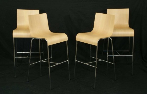 1: SET OF FOUR CONTEMPORARY WOOD BARSTOOLS