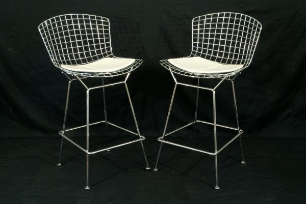 2: PAIR OF CHROME METAL BARSTOOLS W/LEATHER CUSHIONS