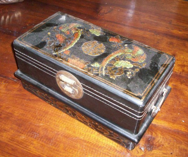 7: ORIENTAL PAINTED LEATHER BOX