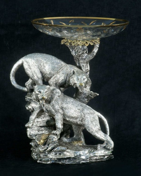 9: SILVERED METAL WITH GLASS COMPOTE BY BRUNEL, ITALY