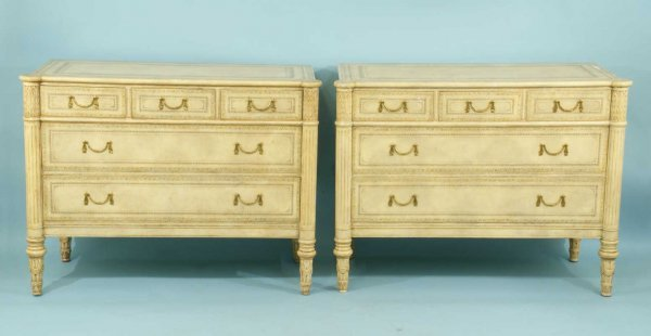 10: PAIR OF TOOLED LEATHER MAITLAND-SMITH COMMODES