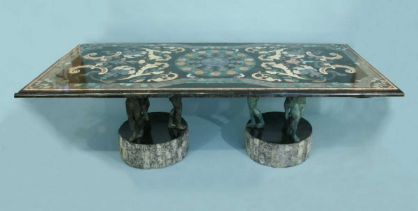 16: MARBLE TOP TABLE WITH FLORA & FAUNA INLAY