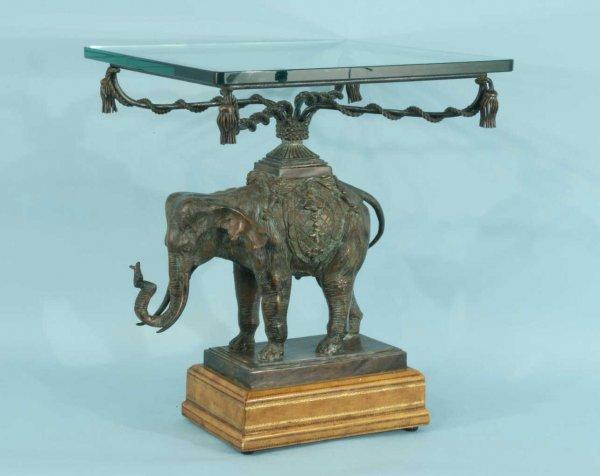 21: MAITLAND-SMITH BRONZE ELEPHANT FIGURE TABLE