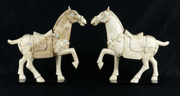22: IVORY, MOTHER-OF-PEARL & TURQUOISE HORSE FIGURES