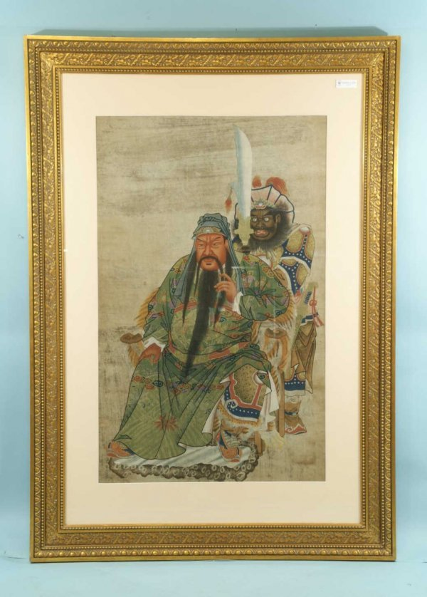 9: VINTAGE PAINTING OF CHINESE EMPEROR ON RICE PAPER