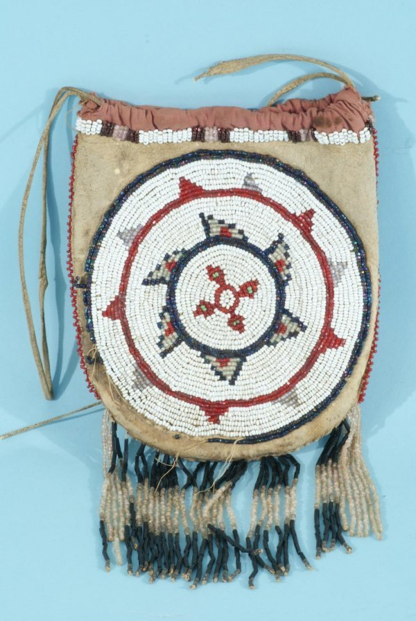 12: NATIVE AMERICAN INDIAN LEATHER BEADED POUCH