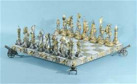 15: SILVER & GILT METAL CHESS SET IN NAPOLEONIC STYLE