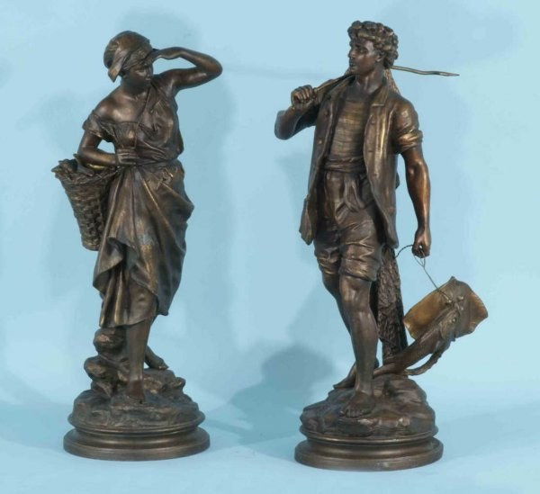 20: BRONZE STATUES OF FRENCH FISHERMAN, CIRCA 1880