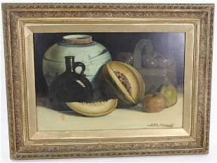 CIRCA 1896 MARIN STILL LIFE OIL ON CANVAS PAINTING