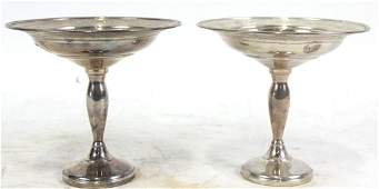 PAIR OF STERLING SILVER FOOTED CANDY DISHES