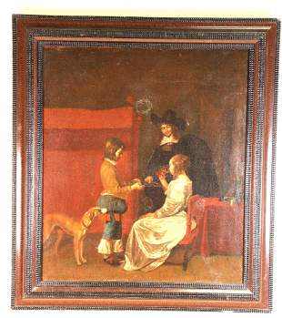 17th CENTURY DUTCH INTERIOR SCENE OIL ON CANVAS