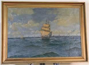 OIL PAINTING SHIP OCEAN