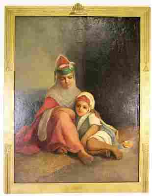 "CHARLES LANDELLE ""MOTHER & CHILD"" OIL ON CANVAS"