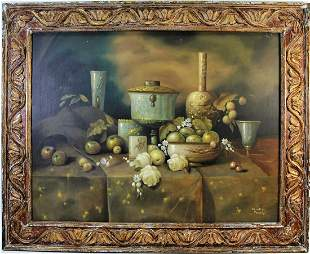 STILL LIFE WITH FRUIT OIL ON CANVAS PAINTING