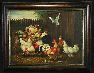 "HUNT ""BARNYARD SCENE"" OIL ON CANVAS PAINTING"