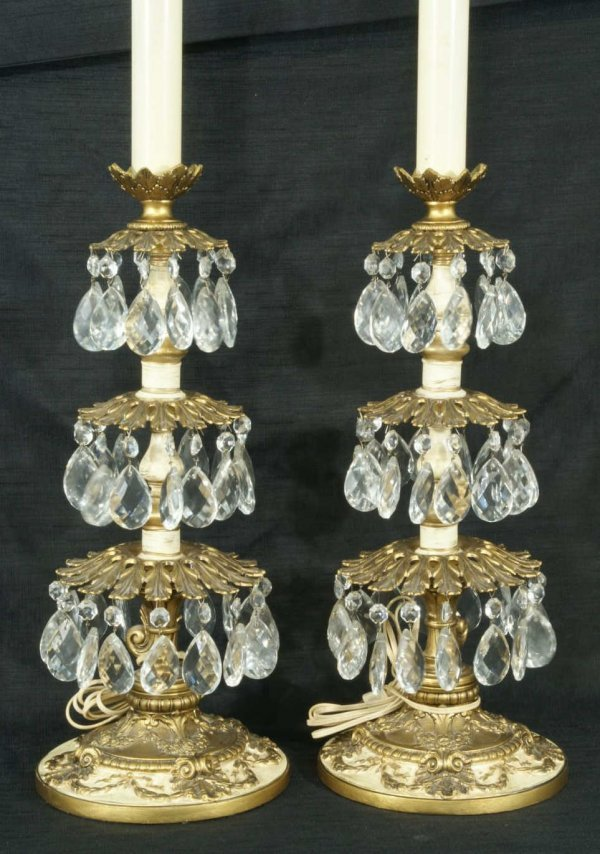 3: PAIR OF LAMPS WITH GLASS DROPS