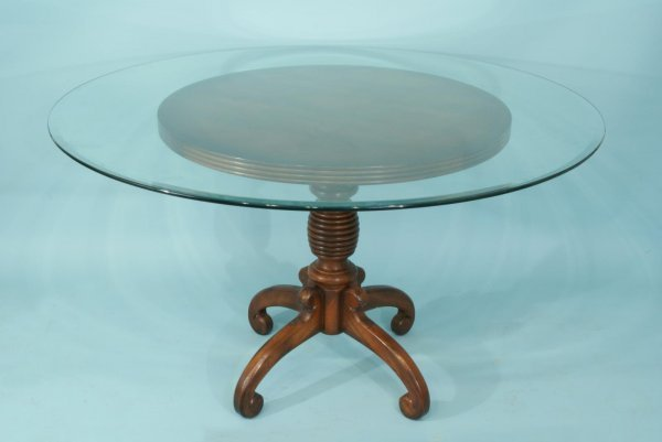 16: WOOD TURNED PEDESTAL TABLE WITH GLASS TOP
