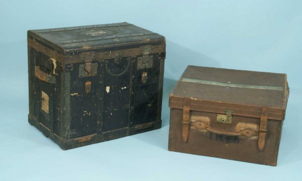 18: LOT OF TWO VINTAGE LEATHER TRUNKS