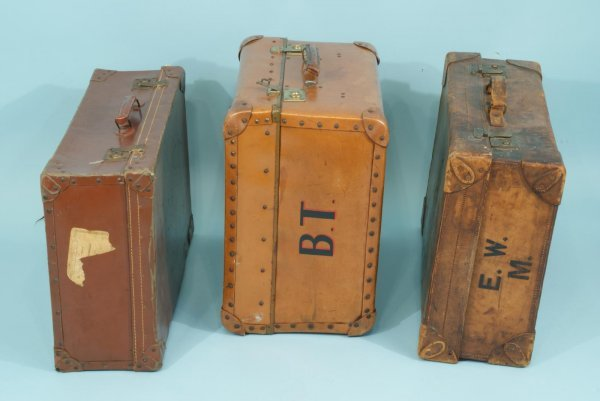 20: LOT OF THREE VINTAGE LEATHER SUITCASES