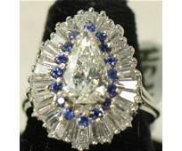 PLATINUM DIAMOND & SAPPHIRE RING