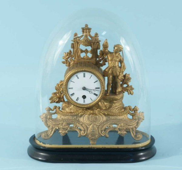 1: ANTIQUE GILDED METAL MANTEL CLOCK WITH GLASS DOME