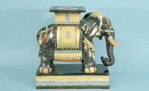 2: PORCELAIN ELEPHANT GARDEN STOOL - 3