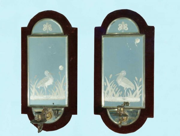 8: NAPOLEON III REVERSE CUT GLASS WALL SCONCES