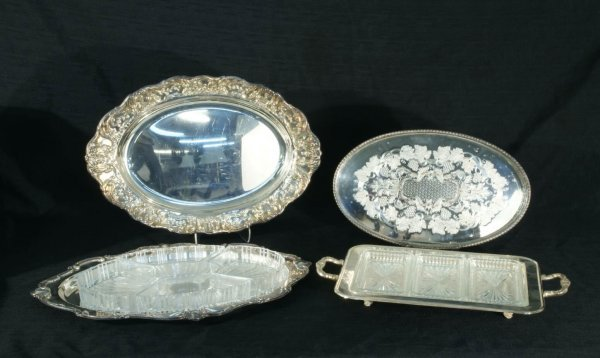 11: FOUR LARGE SILVERPLATED TRAYS
