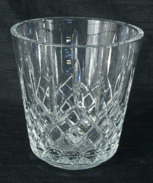 15A: WATERFORD CUT CRYSTAL ICE BUCKET & STERLING TONGS