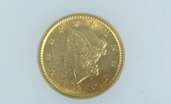 17A: 1853 $1.00 GOLD T-1 ABT. UNC. COIN