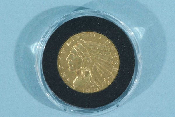 17B: 1910 $5.00 INDIAN GOLD ABT.UNC. COIN