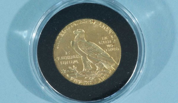 17F: 1912 $5.00 INDIAN GOLD ABT.UNC.+ COIN