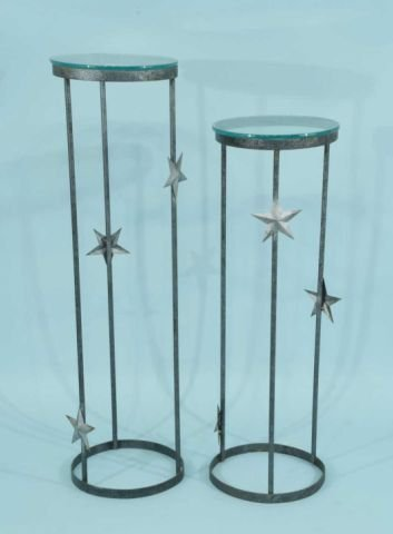 2: TWO PLANT STANDS WITH DECORATIVE STAR DECORATION