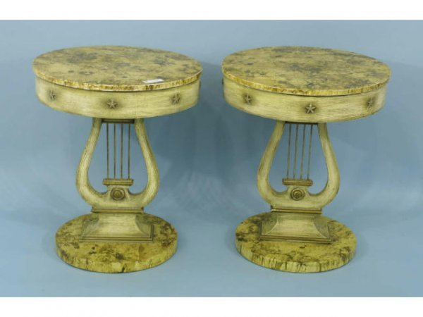 19: PAIR OF FAUX PAINTED EMPIRE TABLES, CIRCA 1940's